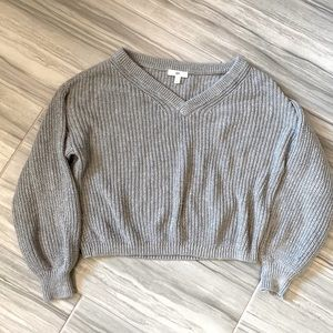 BP Gray Drop Shoulder Knit V Neck Sweater XS